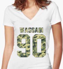 Alex Wassabi - Camo  Women's Fitted V-Neck T-Shirt