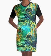 Emerald Sea Digital Graphic T-Shirt Dress