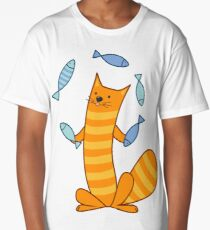 Cat juggling fish Long T-Shirt