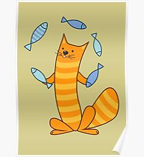 Cat juggling fish Poster