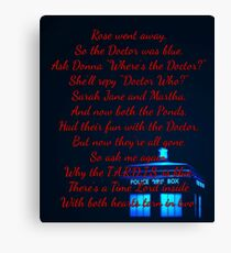 Doctor Who Poem Canvas Print
