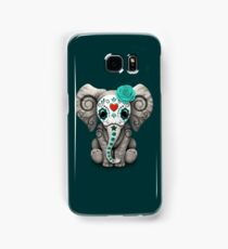 Teal Blue Day of the Dead Sugar Skull Baby Elephant Samsung Galaxy Case/Skin
