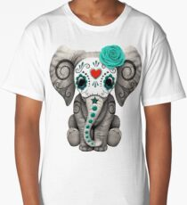 Teal Blue Day of the Dead Sugar Skull Baby Elephant Long T-Shirt