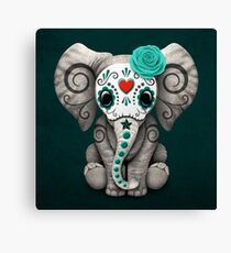Teal Blue Day of the Dead Sugar Skull Baby Elephant Canvas Print