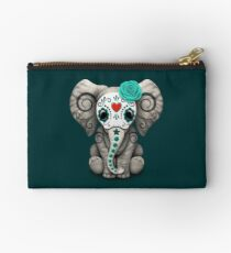 Teal Blue Day of the Dead Sugar Skull Baby Elephant Studio Pouch
