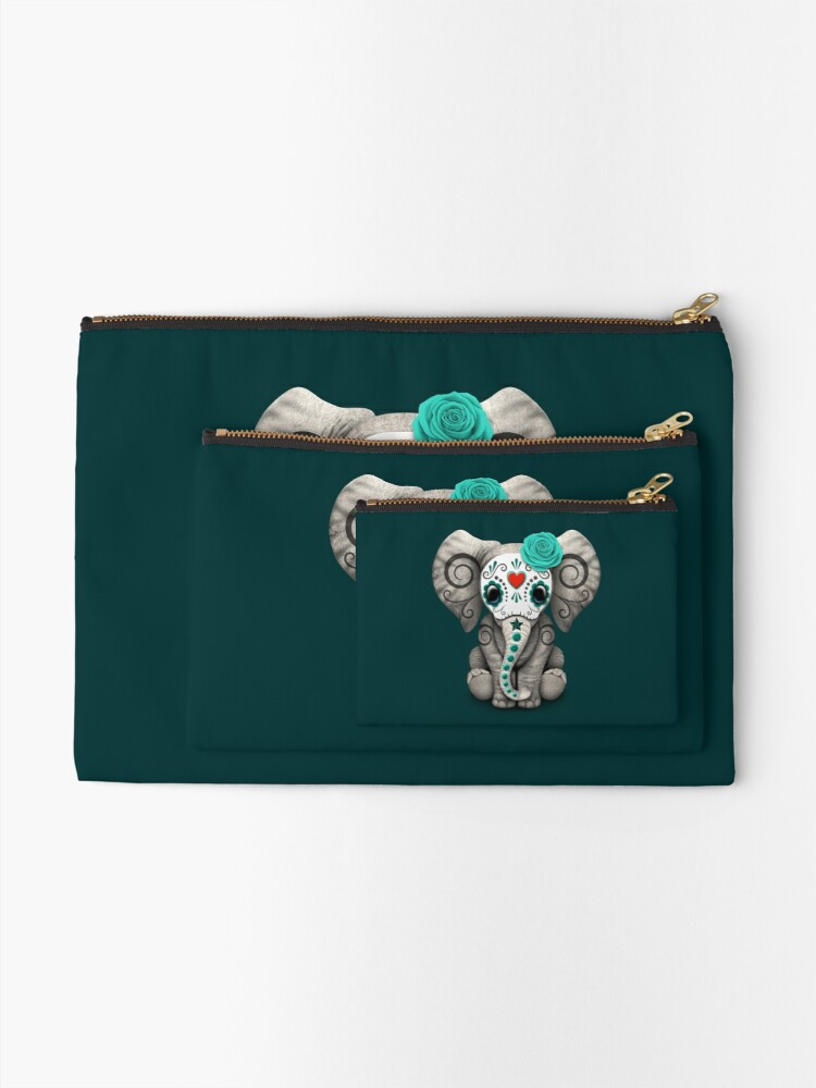 Alternate view of Teal Blue Day of the Dead Sugar Skull Baby Elephant Zipper Pouch