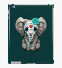 Teal Blue Day of the Dead Sugar Skull Baby Elephant iPad Case/Skin