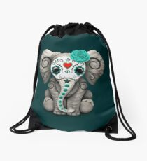 Teal Blue Day of the Dead Sugar Skull Baby Elephant Drawstring Bag