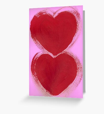 Double Hearts in Rouge Red on Pretty Pink Greeting Card