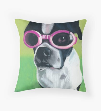 Boston Terrier in Goggles Throw Pillow