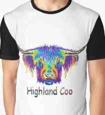 Rainbow Highland Coo Graphic T-Shirt
