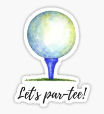 Let's par-tee watercolor golf ball Sticker