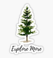 explore more, watercolor tree Sticker