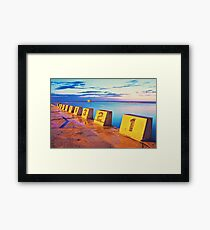 Merewether Ocean Baths in a Golden Sunrise Framed Print