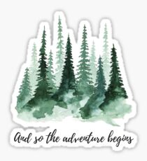 and so the adventure begins, watercolor trees Sticker