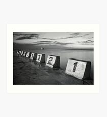 Merewether Baths Black and White Art Print