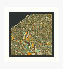 CLEVELAND MAP Art Print