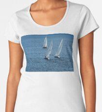 Into The Wind - Crisp White Sails On a Caribbean Blue Women's Premium T-Shirt