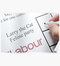 UK elections Vote Larry the Cat Poster