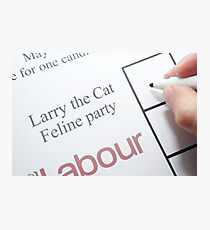 UK elections Vote Larry the Cat Photographic Print