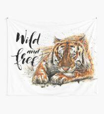 Tigertext, Aquarell, Fleischfresser, wild lebende Tiere Wandbehang