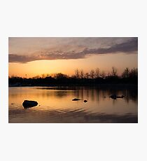 Gloaming - Subtle Pink, Lavender and Orange at the Lake Photographic Print