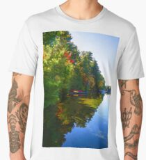 Autumn Lake Mirror - Impressions Of Fall Men's Premium T-Shirt