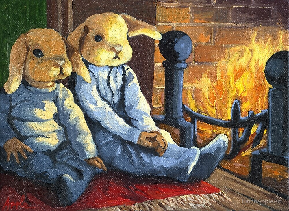 The Mopsy Twins on Xmas by LindaAppleArt