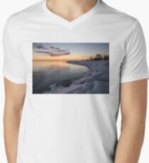 Small Cove Pink and Snowy Dawn Men's V-Neck T-Shirt