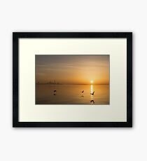 Wings at Sunrise - Toronto Skyline With Flying Geese Framed Print