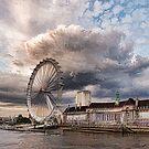 Impressions of London - London Eye Dramatic Skies by Georgia Mizuleva