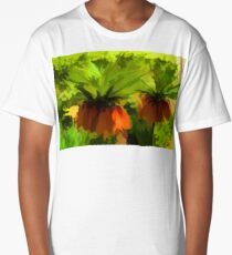 Showy Orange Crown Imperial Flowers - Impressions Of Spring Long T-Shirt