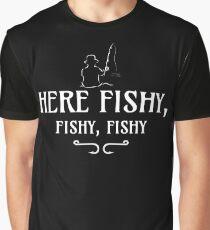Here Fishy, Fishy, Fishy | Funny Fishing Graphic T-Shirt