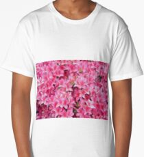 Pink Azalea or Rhodedendron bushes oil paint effect. Long T-Shirt