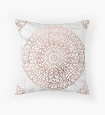Marble mandala - beaded rose gold on white Throw Pillow