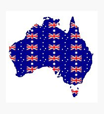 Australia with Australian flag Photographic Print