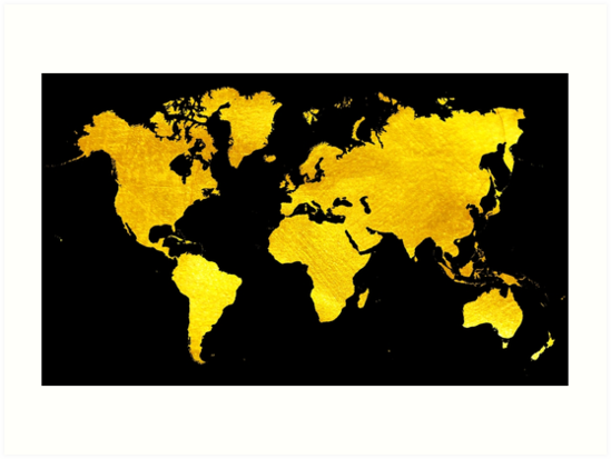 Black and gold map of the world world map for your walls art black and gold map of the world world map for your walls by dejavustudio gumiabroncs Gallery