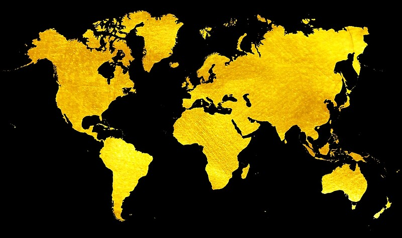 Black And Gold Map Of The World World Map For Your Walls Canvas - Black map of world