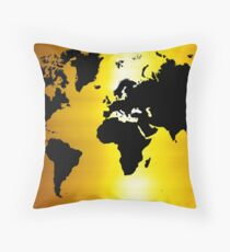 Gold And Black Map of The World - World Map for your walls Throw Pillow