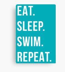eat sleep swim repeat Canvas Print
