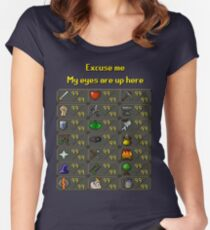 Runescape - My eyes are up here Women's Fitted Scoop T-Shirt