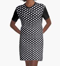 Vintage Polka Dot Dress - Black and White Circles Graphic T-Shirt Dress
