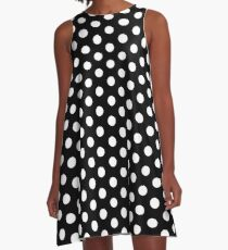 Vintage Polka Dot Dress - Black and White Circles A-Line Dress