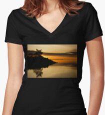 Orange Sunrise Women's Fitted V-Neck T-Shirt