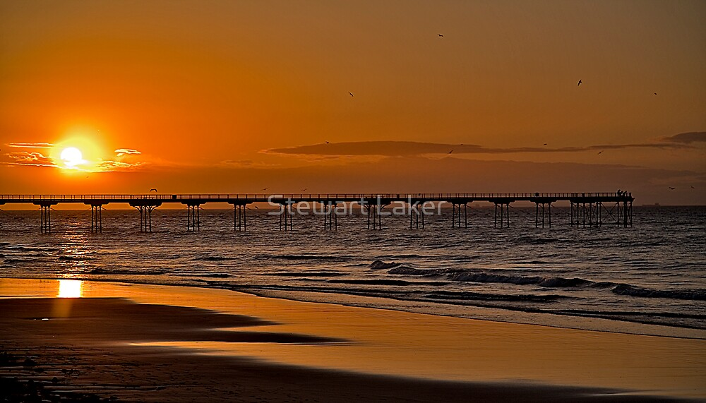 Saltburn Pier At Sunset by Stewart Laker