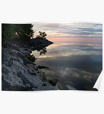 On the Rocks - Silky Colorful Lakeside Morning Poster