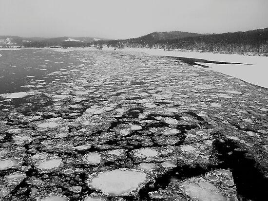 Ice on the Missouri River by Dawne Olson