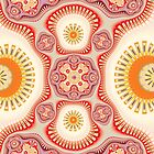 Red and Yellow Kaleidoscope Pattern by MarfffaArt