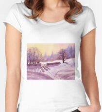 Sheep and Snow Women's Fitted Scoop T-Shirt