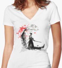 Japanese Samurai Women's Fitted V-Neck T-Shirt